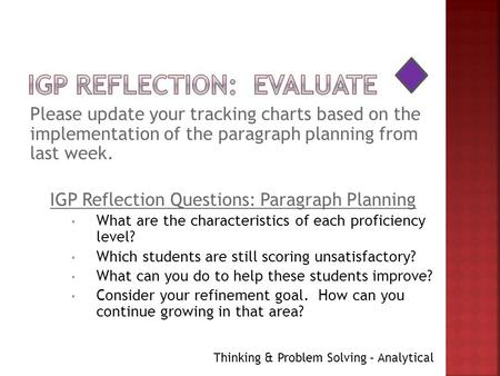 Please update your tracking charts based on the implementation of the paragraph planning from last week. IGP Reflection Questions: Paragraph Planning What.