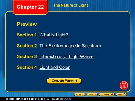 Chapter 22 Preview Section 1 What Is Light?