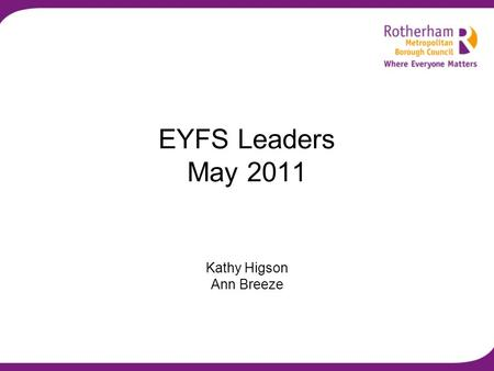 EYFS Leaders May 2011 Kathy Higson Ann Breeze. Programme Welcome and introductions Update on SEN and the DDA The Early Years: Foundations for life, health.