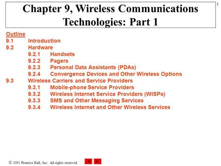  2001 Prentice Hall, Inc. All rights reserved. 1 Chapter 9, Wireless <strong>Communications</strong> Technologies: Part 1 Outline 9.1 Introduction 9.2Hardware 9.2.1Handsets.