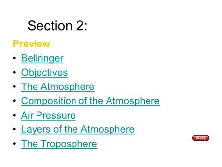 Section 2: The Atmosphere Preview Bellringer Objectives The Atmosphere Composition of the Atmosphere Air Pressure Layers of the Atmosphere The Troposphere.