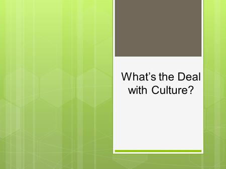 What's the Deal with Culture?
