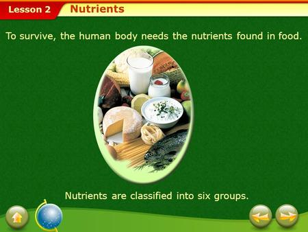 Nutrients To survive, the human body needs the nutrients found in food. Nutrients are classified into six groups.