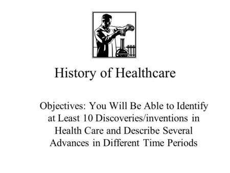 History of Healthcare Objectives: You Will Be Able to Identify at Least 10 Discoveries/inventions in Health Care and Describe Several Advances in Different.