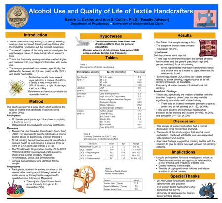 Alcohol Use and Quality of Life of Textile Handcrafters This study was part of a larger study which explored the roles of textiles and handcrafts in women's.