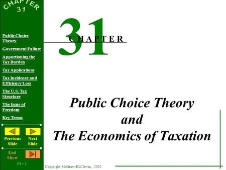 31 - 1 Copyright McGraw-Hill/Irwin, 2002 Public Choice Theory Government Failure Apportioning the Tax Burden Tax Applications Tax Incidence and Efficiency.