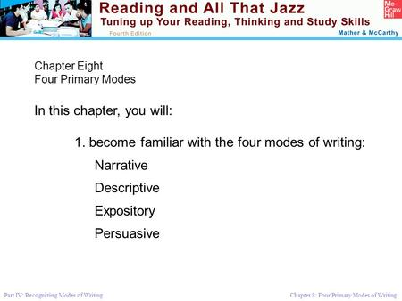 Part IV: Recognizing Modes of Writing Chapter 8: Four Primary Modes of Writing Chapter Eight Four Primary Modes In this chapter, you will: 1. become familiar.