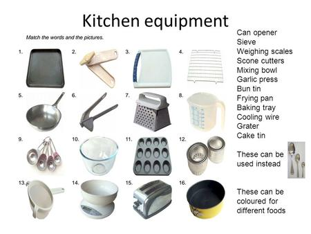 Kitchen equipment Can opener Sieve Weighing scales Scone cutters Mixing bowl Garlic press Bun tin Frying pan Baking tray Cooling wire Grater Cake tin These.
