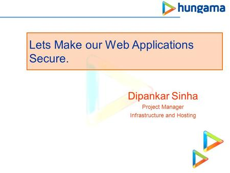 Lets Make our Web Applications Secure. Dipankar Sinha Project Manager Infrastructure and Hosting.