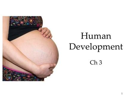 1 Human Development Ch 3. 2 3 4 5 Prenatal Development <strong>and</strong> the Newborn  Developmental Psychology  Studies physical, cognitive <strong>and</strong> social change throughout.
