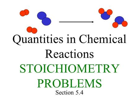 Quantities in Chemical Reactions STOICHIOMETRY PROBLEMS