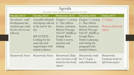 Agenda All students must write down the agenda for the week!! Monday 10/13Tuesday 10/14Wednesday 10/15Thursday 10/16Friday 10/17 No school – staff development.