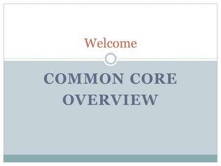 COMMON CORE OVERVIEW Welcome. NYS Common Core 5 Strands (Same for Prek-12) (Number Sense, Algebra, Geometry, Measurement, Statistics and Probability)