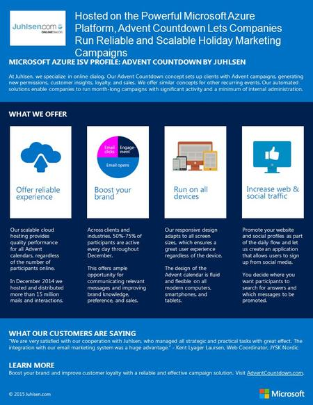 Hosted on the Powerful Microsoft Azure Platform, Advent Countdown Lets Companies Run Reliable and Scalable Holiday Marketing Campaigns MICROSOFT AZURE.