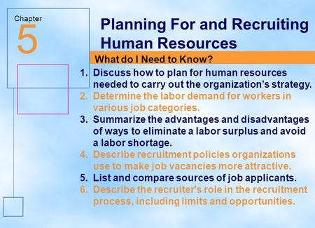 5 Planning For and Recruiting Human Resources What do I Need to Know?