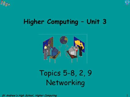 St Andrews High School, Higher Computing 1 Higher Computing – Unit 3 Topics 5-8, 2, 9 Networking.