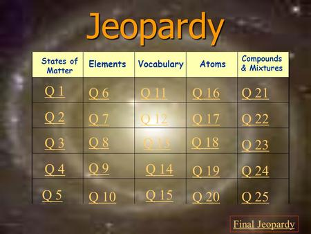 Jeopardy Q 1 Q 2 Q 3 Q 4 Q 5 Q 6Q 16Q 11Q 21 Q 7Q 12Q 17Q 22 Q 8 Q 13 Q 18 Q 23 Q 9 Q 14 Q 19Q 24 Q 10 Q 15 Q 20Q 25 Final Jeopardy Vocabulary States of.