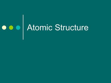 Atomic Structure. Atomic Number Found on the periodic table.
