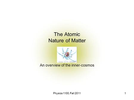 Physics 1100, Fall 20111 The Atomic Nature of Matter An overview of the inner-cosmos.