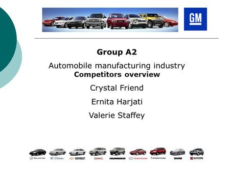 Group A2 <strong>Automobile</strong> manufacturing industry Competitors overview Crystal Friend Ernita Harjati Valerie Staffey.