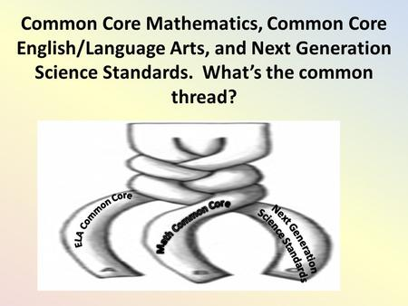 Common Core Mathematics, Common Core English/Language Arts, and Next Generation Science Standards. What's the common thread?