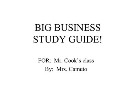 BIG BUSINESS STUDY GUIDE!