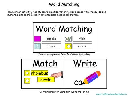 Word Matching purple 3three fish circle Match circle ca Write rhombus Corner Assignment Card for Word Matching Corner Direction Card for Word Matching.