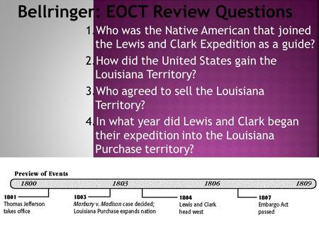 1.Who was the Native American that joined the Lewis and Clark Expedition as a guide? 2.How did the United States gain the Louisiana Territory? 3.Who agreed.
