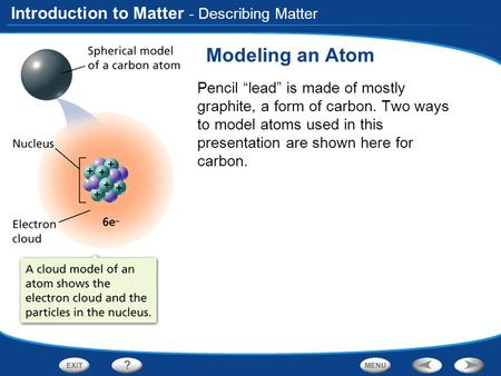 "Introduction to Matter Modeling an Atom Pencil ""lead"" is made of mostly graphite, a form of carbon. Two ways to model atoms used in this presentation are."