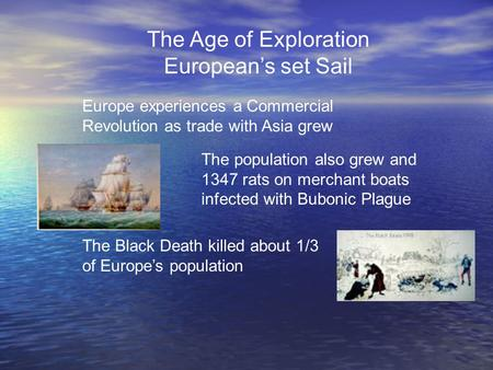 The Age of Exploration European's set Sail Europe experiences a Commercial Revolution as trade with Asia grew The population also grew and 1347 rats on.