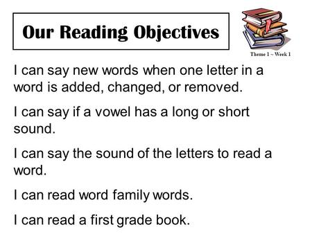 Our Reading Objectives I can say new words when one letter in a word is added, changed, or removed. I can say if a vowel has a long or short sound. I can.