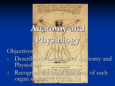 Anatomy and Physiology Objectives: 1. Describe the branches of Anatomy and Physiology 2. Recognize the main functions of each organ system.