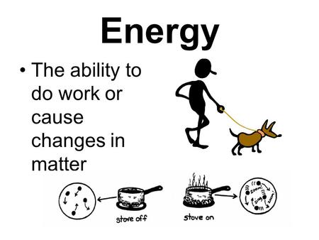 Energy The ability to do work or cause changes in matter.