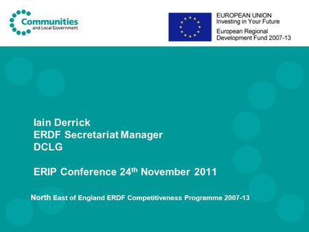 North East of England ERDF Competitiveness Programme