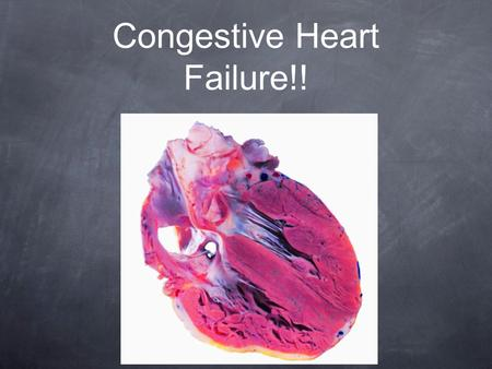 Congestive Heart Failure!!. Question 1 What's a symptom of congestive heart failure?? A. shortness of breath B. chest pain C. No appetite D. all of the.