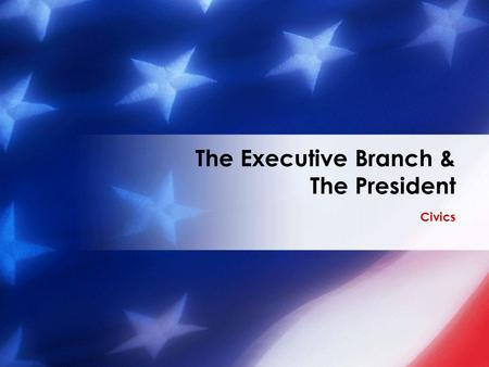 Civics The Executive Branch & The President. The President's Job Description Chief of State −Ceremonial head of government −Symbol of all Americans.