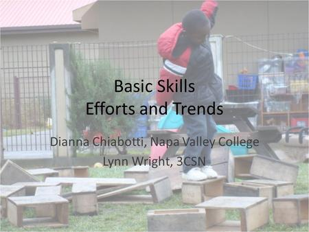 Basic Skills Efforts and Trends Dianna Chiabotti, Napa Valley College Lynn Wright, 3CSN.
