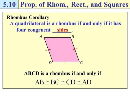 Prop. of Rhom., Rect., and Squares