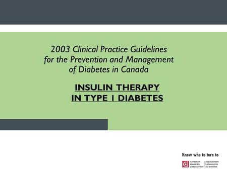 INSULIN THERAPY IN TYPE 1 DIABETES