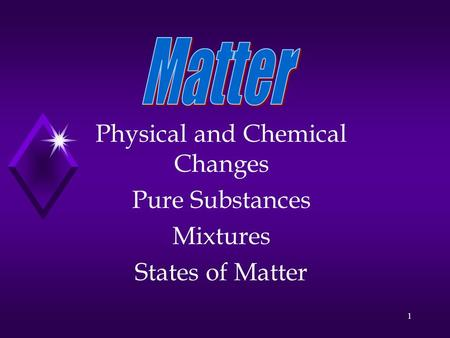 1 Physical and Chemical Changes Pure Substances Mixtures States of Matter.