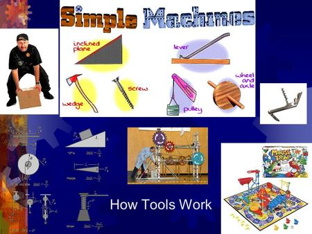 How Tools Work. The Six Simple Machines  Lever  Inclined Plane  Wedge  Screw  Pulley  Wheel and Axle.