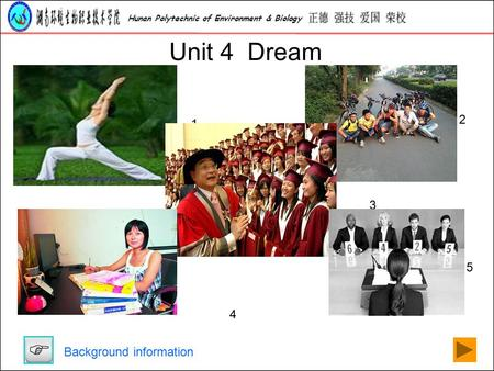 Hunan Polytechnic of <strong>Environment</strong> & Biology Unit 4 Dream 1 2 3 4 5 Background information.
