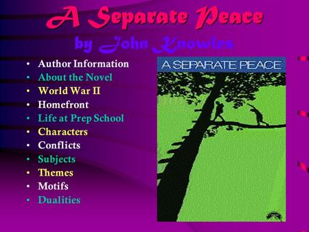 A Separate Peace John Knowles Pdf