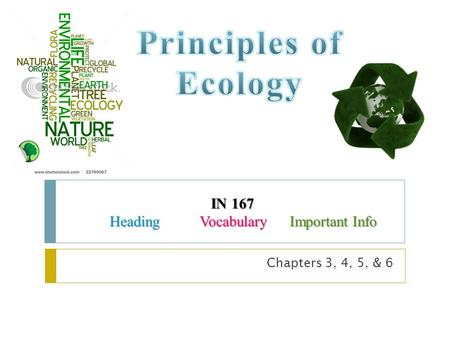 Principles of Ecology IN 167 Heading Vocabulary Important Info