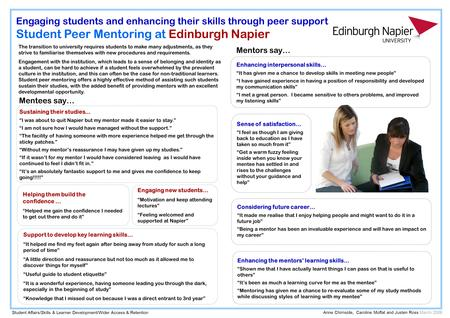 "Engaging students and enhancing their skills through peer support Student Peer Mentoring at Edinburgh Napier Engaging new students… ""Motivation and keep."
