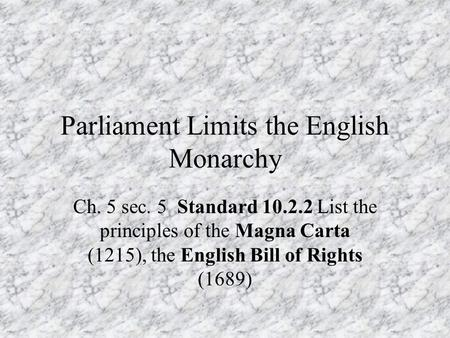 english law civil war democracy develops in england ppt download rh slideplayer com chapter 21 guided reading parliament limits the english monarchy guided reading parliament limits the english monarchy answers