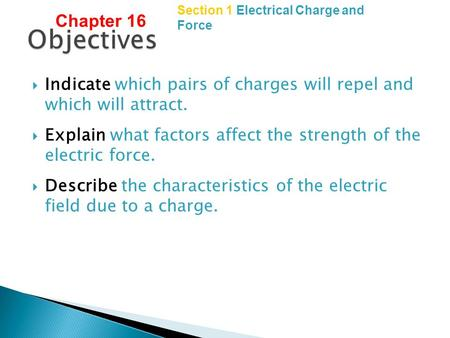 Copyright © by Holt, Rinehart and Winston. All rights reserved. Section 1 Electrical Charge and Force  Indicate which pairs of charges will repel and.