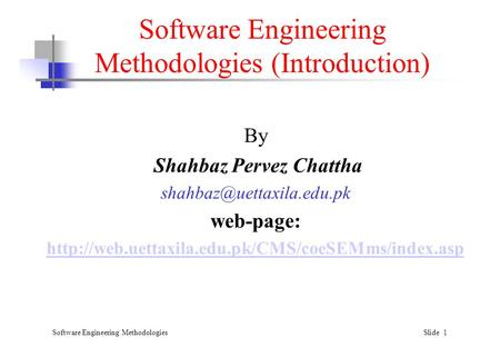 Software Engineering Methodologies (Introduction)