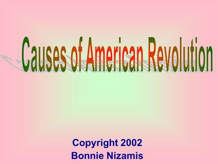 Copyright 2002 Bonnie Nizamis. Important people Important Locations Acts and laws Steps to Rev. 100 200 100 300 200 400 300 500 400 500 FINALFINAL.