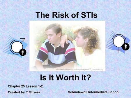 The Risk of STIs Is It Worth It? Chapter 25 Lesson 1-2 Created by T. Stivers Schindewolf Intermediate School www.health-alliance.com/living/images/APC_couplestd.jpg.